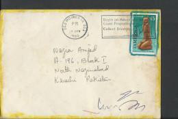 USA 1990 Airmail, Artmaster Cachet, 1989 USA Southeast Carved Figure, Carved Wood Figure, Sent To Pakistan - Brieven En Documenten