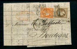 LETTRE N�30 b) + N�48 PAU  9/MARS/1872 TRIPLE PORT TTB  RARE SIGNE SCHELLER