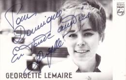 DEDICACE Originale Autographe Georgette LEMAIRE En 1966 @ Disques Philips - Autographes