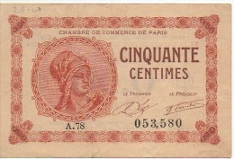 Billlet De 50 Centimes De La Chambre De Commerce De PARIS Mars 1920 - Chambre De Commerce