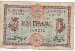 Billlet De 1 Franc De La Chambre De Commerce De MACON - BOURG Sept 1915 - Chambre De Commerce