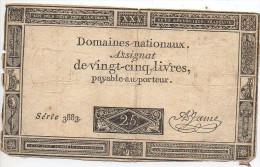 ASSIGNAT Des Domaines Nationnaux De 25 Livres Signé A Game - Assignats & Mandats Territoriaux