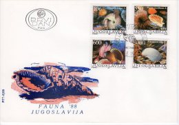 YUGOSLAVIA 1988 Marine Fauna FDC.  Michel 2275-78 - FDC