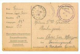 CARTE PRISONNIER DE GUERRE EN ALLEMAGNE 1915  Pour ARSAC Par BORDEAUX - 1914-18