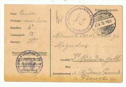 CARTE PRISONNIER DE GUERRE EN ALLEMAGNE 1915  Pour St MEDARD En JALLES - 1914-18