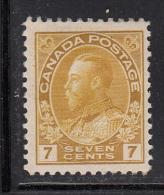 Canada MH Scott #113iv 7c George V Admiral, Greenish Yellow - 1911-1935 Reign Of George V