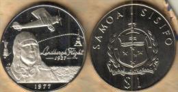 SAMOA $1 TALA EMBLEM FRONT LINDBERGH AIRPOLANE BACK 1977 SILVER PROOF READ DESCRIPTION CAREFULLY !!!