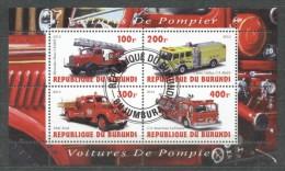Burundi 2010 Fire Engine, Perf.sheetlet, Used T.037
