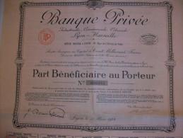 2603  --  BANQUE PRIVÉE - Capital   100.000.000 De Frs  Part Bénéficiaire - Shareholdings