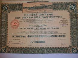 2607  -- Sté Ame Des MINES DES BORMETTES - Capital 4.000.000 De Frs Action De Jouissance - Shareholdings