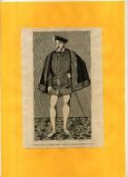 - PORTRAIT DE HENRI II . GRAVURE SUR BOIS  DU XIXe S  . DECOUPEE ET COLLEE SUR PAPIER . - Estampes & Gravures