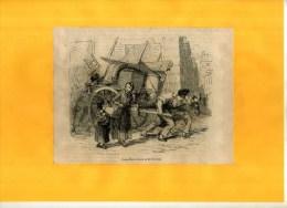 - SCENE DE DEMENAGEMENT . GRAVURE SUR BOIS  DU XIXe S  . DECOUPEE ET COLLEE SUR PAPIER . - Transports