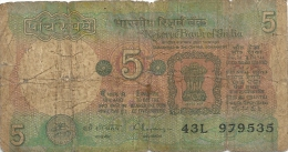 --RESERVE BANK OF INDIA--5.FIVE RUPEES--SERIE 43L--N° 979535---ETAT MOYEN-- - Inde