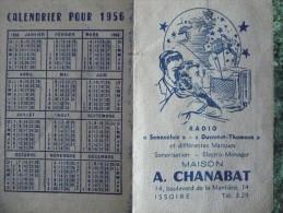 CALENDRIER De POCHE 1956. Publicité RADIO TSF Sonneclair Ducretet Thomson Avec Longueur D'Ondes Emetteurs. Etat TB - Calendriers