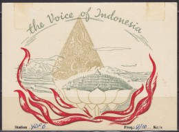 5014. Indonesia, 1956, Radio Indonesia, Postcard - Indonesia