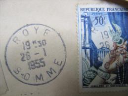 1410 Roye Somme Joallerie Orfeverie 1955 Tarif Postal Bank Banque Arrivée Amiens PP Variété Filet Bleu à Gauche - Postmark Collection (Covers)