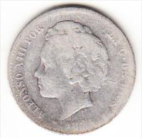 ESPAÑA 1894.   1 PESETA DE PLATA  DE ALFONSO XIII.MUY RARA MBC.ESTRELLAS  NO LEGIBLES     CN 4033 - Primeras Acuñaciones
