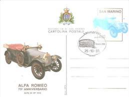 75619 )ntero Postale-san Marino Alfa Romeo 75-anniversario.25-10-85 - Interi Postali