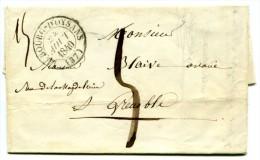 LE BOURG D´OYSANS (37)  C. 13  Sur Lettre En Port Dû Pour Grenoble 1840 (Isère) - Postmark Collection (Covers)