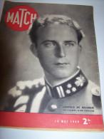 @ LEOPOLD DE BELGIQUE FILS D'ALBERT .LE ROI CHEVALIER MATCH 16 MAI 1940 MILITARIA - 1900 - 1949