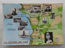 CP 85 Le Hâvre De Vie Cartographie De Challans > Les Sables D'olonne  Le Hâvre De La Gachère Multivue Avec Pin Up Bikini - Challans