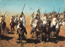 MAROKKO - Krieger Auf Pferden Scènes Et Types Fantasia, Karte Gel.1984, 3 Sondermarken - Algérie