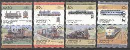 St. Vincent Grenadines 1985 Trains, Railways, 4 Pair, MNH AL.084 - St.Vincent Y Las Granadinas