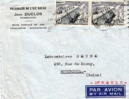 MADAGASCAR 1950? - 2 X 10 F Auf Brief Par Avion Von Tananarive Madagascar > Montreul - Madagaskar (1889-1960)