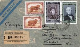 ARGENTINA 1950 - 4 Sondermarken Auf R-Zensur-Brief (Seidenpapierbrief, Exped Al.Exterior) - Gel.1950 Von Zapiola ... - Argentinien
