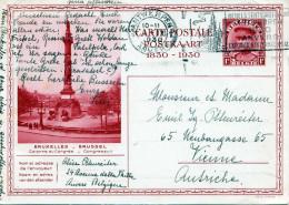 BELGIEN 1930 - 1 F Ganzsache Auf Bildpostkarte Bruxelles Sonderstempel + Stempel Antwerpen > Vienne Austriche - Belgien