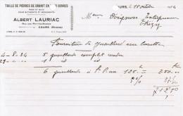 1934 TAILLE DE PIERRES DE GRANIT EN TOUS GENRES ROSE ET BLEU ALBERT LAURIAC RUE DES PETITES-GARDES COURS RHONE - 1900 – 1949