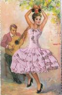 SPANISH DANCING GIRL. SILK DRESS - Postcards