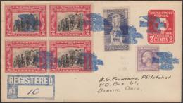 Etats-Unis 1933. Lettre Recommandée De Dove, Ohio, Oblitérations « De Fantaisie » Fancy, Colombe En Vol - Columbiformes