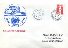 LETTRE  BATEAU AVISO L.V. LE HENAFF EN ESCALE A NANTES 12/3/90   F789 - Marcophilie (Lettres)