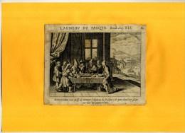 - L'AGNEAU DE PASQUE . EAU FORTE DU XVIIe S  . DECOUPEE ET COLLEE SUR PAPIER . - Religion & Esotericism