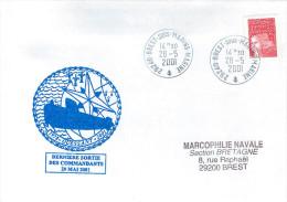 LETTRE  BATEAU SOUS MARIN OUESSANT DERNIERE SORTIE DES COMMANDANTS  BREST 28/5/2001 - Marcophilie (Lettres)