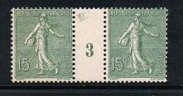 FRANCE N°130 N** En Paire Millésimée 3 (1903) Type 2 - Millésimes