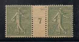 FRANCE N°130 N* En Paire Millésimée 7 (1917) Type 4, Papier GC