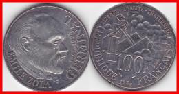 "Franc 100 Francs Commémoratif Emile Zola Germinal 1985 Argent Silver 900°/°° 15g Etat "" TTB ""  F 453/2 - France"