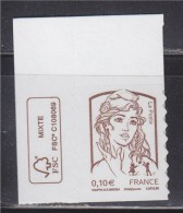 = Marianne Et La Jeunesse Autocollant X1 Faciale 0.10€, En Coin De Feuille Haut N°849 Neuf - Adhésifs (autocollants)