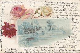 Croatie - Hongrie - Karlovac - Illustration Lac - Roses  - Fine Postmarked 1901 Karlovac Zagreb - Croatie