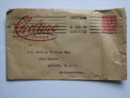 GB GEORGE V DOWNEY COVER WITH CHELTINE FOODS LOGO GARTHMYL AND WELSHPOOL MARKS - 1902-1951 (Kings)