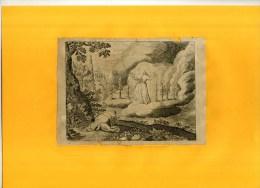 - SCENE BIBLIQUE . EAU FORTE DU XVIIe S  . DECOUPEE ET COLLEE SUR PAPIER . - Religion & Esotérisme