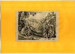 - SCENE BIBLIQUE . EAU FORTE DU XVIIe S  . DECOUPEE ET COLLEE SUR PAPIER . - Religion & Esotericism