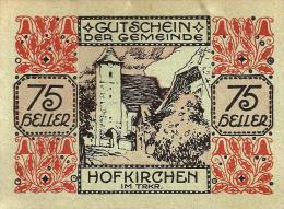 AUSTRIA GEMEINDE 75 HELLER RED-BLACK  KIRCHEN FRONT & INSCRIPTIONS BACK DATED 01-03-1921 P? UNC READ DESCRIPTION !! - Autriche
