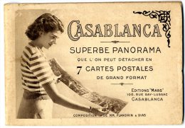 MAROC  CASABLANCA   LIVRET DE 7 CARTES POSTALES   -  PANORAMIQUE DE LA VILLE  -  CIRCULEE ET  CACHET AU DOS 1946 - Casablanca