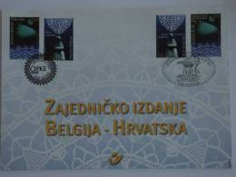 België Belgique Kroatie Croatie Hrvatsk 2002 Herdenkingskaart Carte Souvenir Kantwerk Dentelle Lace 3093-3094 HK Yv 3087 - Cartes Souvenir