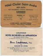 2 CArtes Hotels De LOURDES (65) Hotel Richelieu - Hotel Chalet Saint Andre Neff-Gesta (69924) - Cartes De Visite