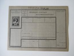 Italien / Julisch Venetien (?) Paketkarte Ungebraucht. Venezia Giulia. Bolo Di Finanza. Selten Angeboten!! - 8. WW I Occupation