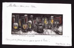 Véritable Gravure Aquarellée Signée Françoise Dubois, 1990, Verres à Bière, Tirage 20 Ex. - Non Classificati